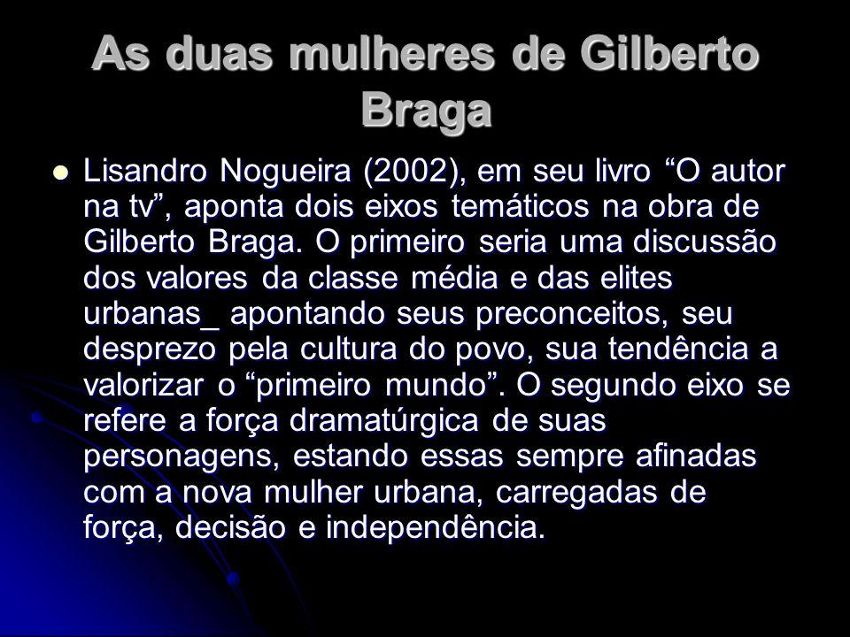 As duas mulheres de Gilberto Braga Lisandro Nogueira (2002), em seu livro O autor na tv, aponta dois eixos temáticos na obra de Gilberto Braga. O prim