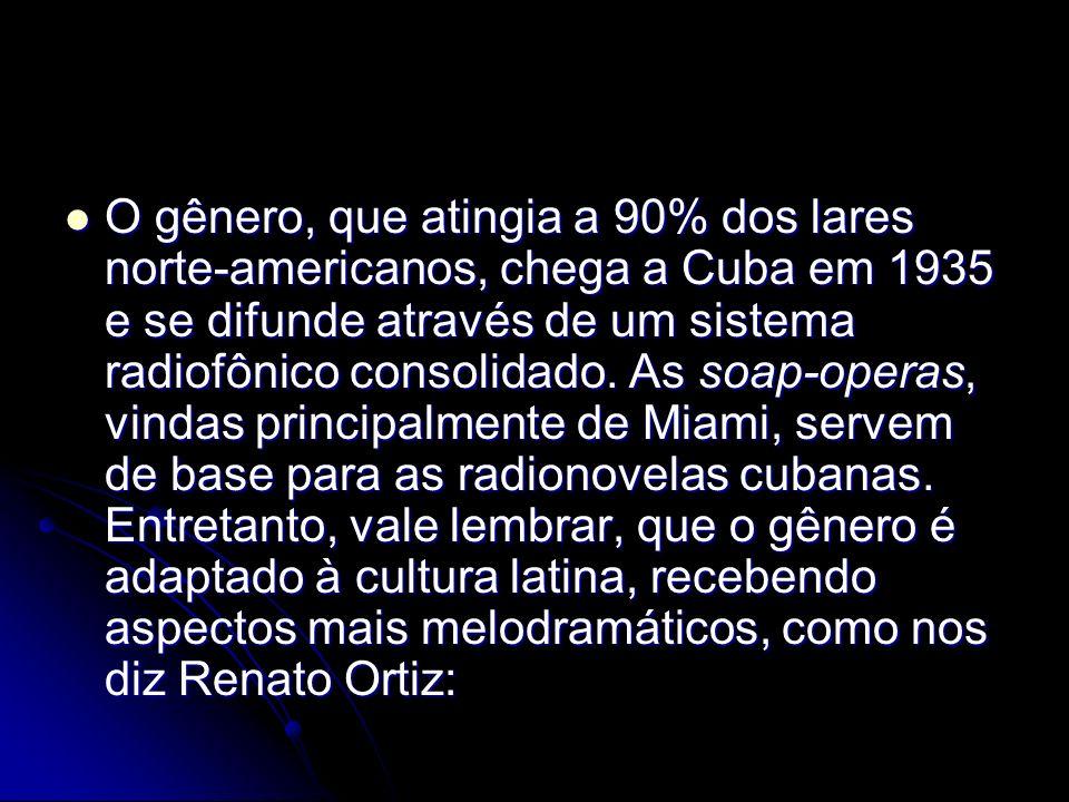 O gênero, que atingia a 90% dos lares norte-americanos, chega a Cuba em 1935 e se difunde através de um sistema radiofônico consolidado. As soap-opera