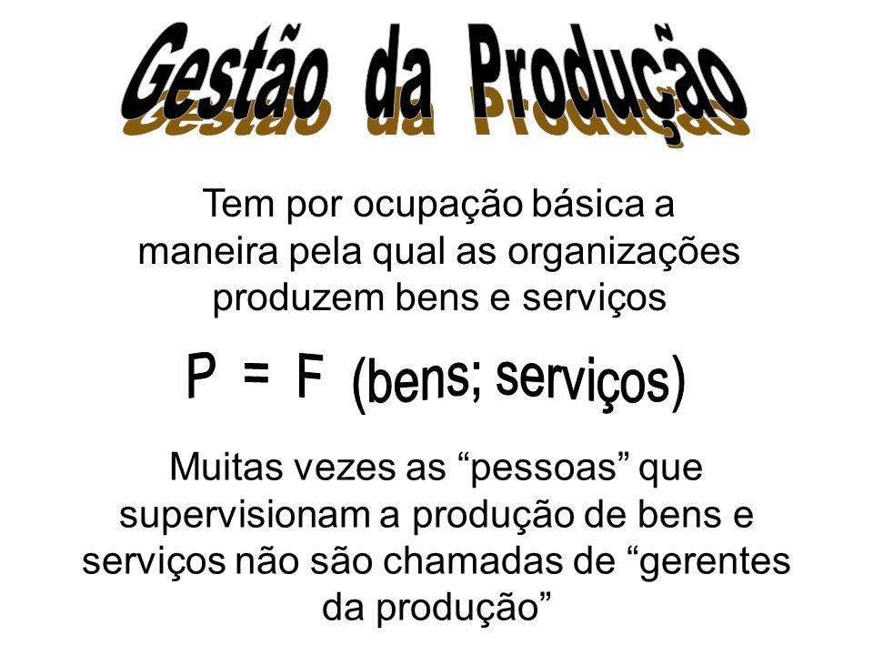 Tem por ocupação básica a maneira pela qual as organizações produzem bens e serviços Muitas vezes as pessoas que supervisionam a produção de bens e serviços não são chamadas de gerentes da produção
