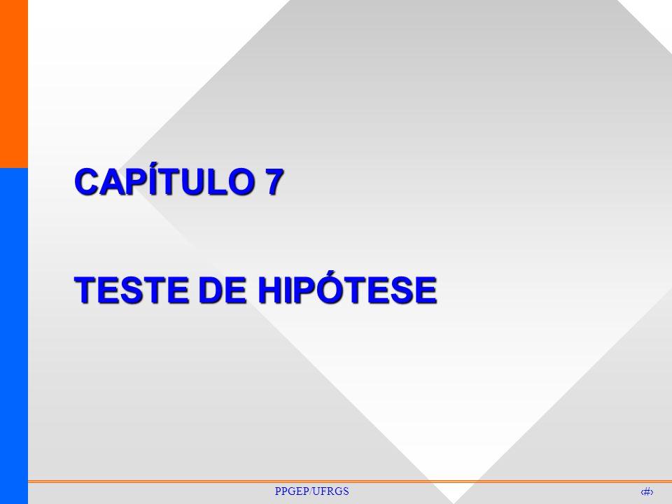 1 PPGEP/UFRGS CAPÍTULO 7 TESTE DE HIPÓTESE