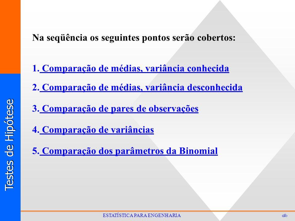 Testes de Hipótese 11 ESTATÍSTICA PARA ENGENHARIA Na seqüência os seguintes pontos serão cobertos: 1. Comparação de médias, variância conhecida 2. Com