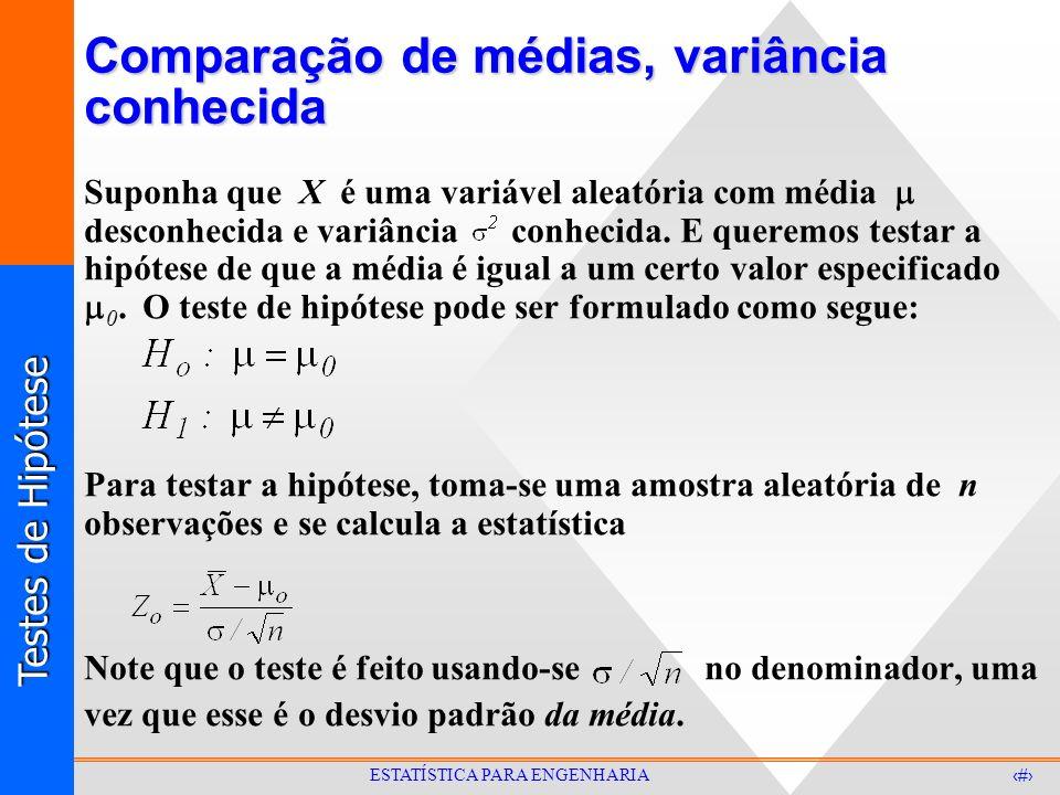Testes de Hipótese 12 ESTATÍSTICA PARA ENGENHARIA Comparação de médias, variância conhecida Suponha que X é uma variável aleatória com média desconhecida e variância conhecida.