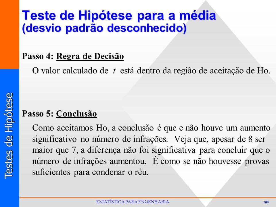 Testes de Hipótese 28 ESTATÍSTICA PARA ENGENHARIA Teste de Hipótese para a média (desvio padrão desconhecido) Passo 4: Regra de Decisão O valor calcul