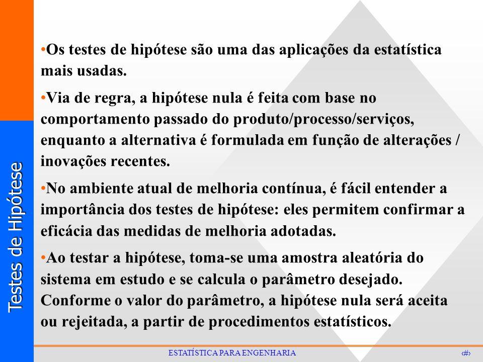Testes de Hipótese 14 ESTATÍSTICA PARA ENGENHARIA Teste de Hipótese para a média - EXEMPLO A resistência à tração do aço inoxidável produzido numa usina permanecia estável, com uma resistência média de 72 kg/mm 2 e um desvio padrão de 2,0 kg/mm 2.