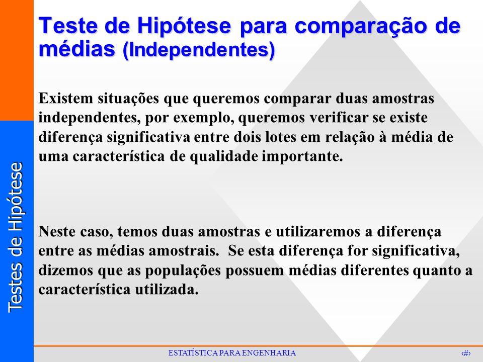Testes de Hipótese 30 ESTATÍSTICA PARA ENGENHARIA Teste de Hipótese para comparação de médias (Independentes) Existem situações que queremos comparar