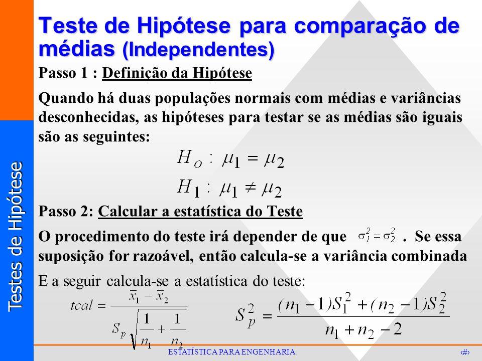 Testes de Hipótese 31 ESTATÍSTICA PARA ENGENHARIA Teste de Hipótese para comparação de médias (Independentes) Passo 1 : Definição da Hipótese Quando h