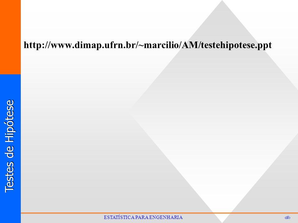 Testes de Hipótese 36 ESTATÍSTICA PARA ENGENHARIA http://www.dimap.ufrn.br/~marcilio/AM/testehipotese.ppt