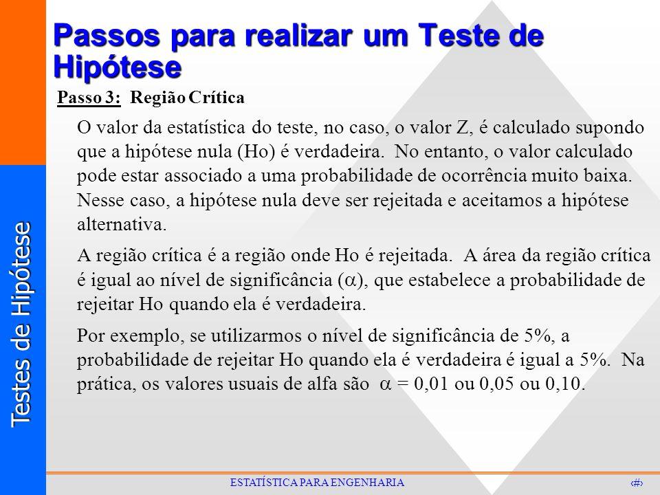 Testes de Hipótese 7 ESTATÍSTICA PARA ENGENHARIA Passos para realizar um Teste de Hipótese Passo 3: Região Crítica O valor da estatística do teste, no