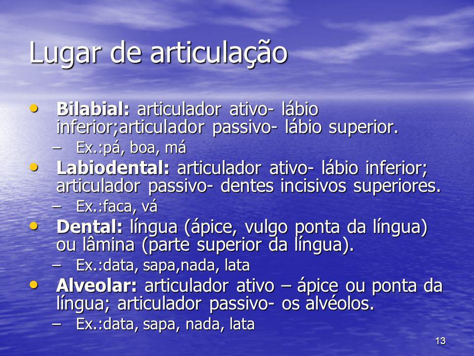 13 Lugar de articulação Bilabial: articulador ativo- lábio inferior;articulador passivo- lábio superior. Bilabial: articulador ativo- lábio inferior;a