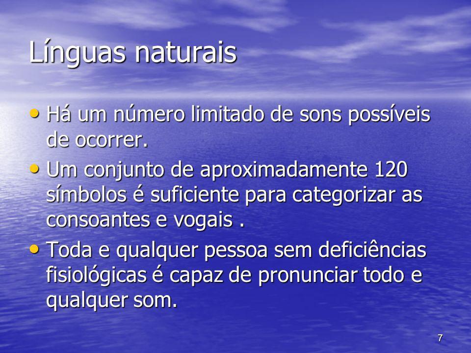7 Línguas naturais Há um número limitado de sons possíveis de ocorrer. Há um número limitado de sons possíveis de ocorrer. Um conjunto de aproximadame