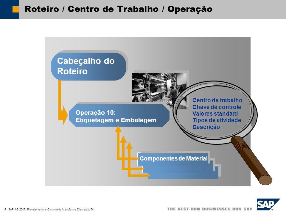 SAP AG 2007, Planejamento e Controle da Manufatura Discreta (J64) Roteiro / Centro de Trabalho / Operação Cabeçalho do Roteiro Operação 10: Etiquetage