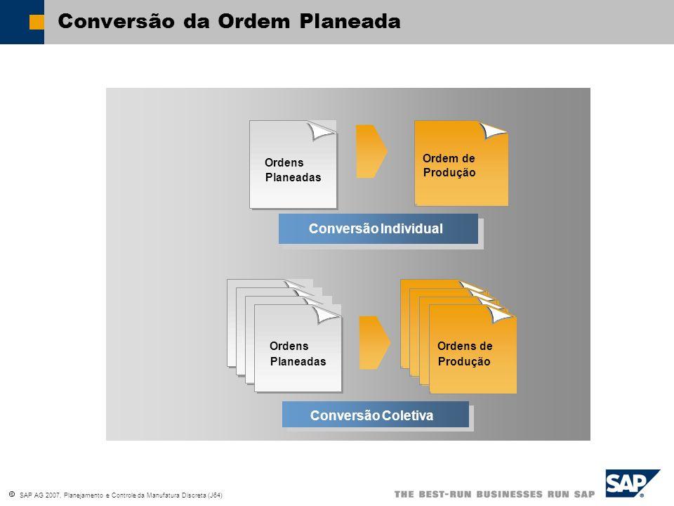 SAP AG 2007, Planejamento e Controle da Manufatura Discreta (J64) Individual Conversion Conversão Individual Ordens Planeadas Ordens de Produção Colle