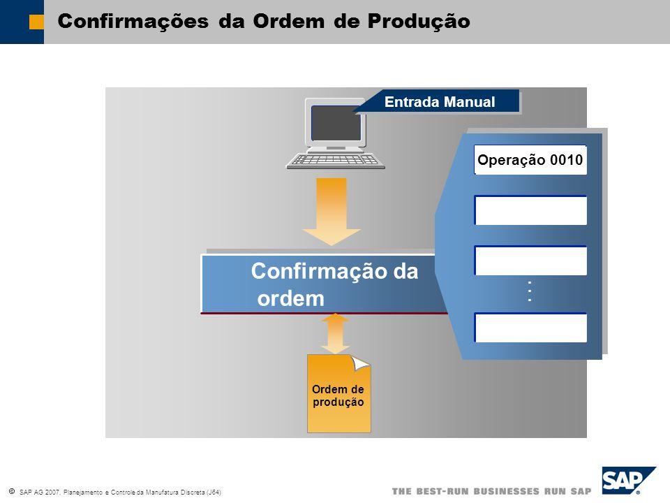 SAP AG 2007, Planejamento e Controle da Manufatura Discreta (J64) Confirmação da ordem Confirmação da ordem...... Entrada Manual Confirmações da Ordem