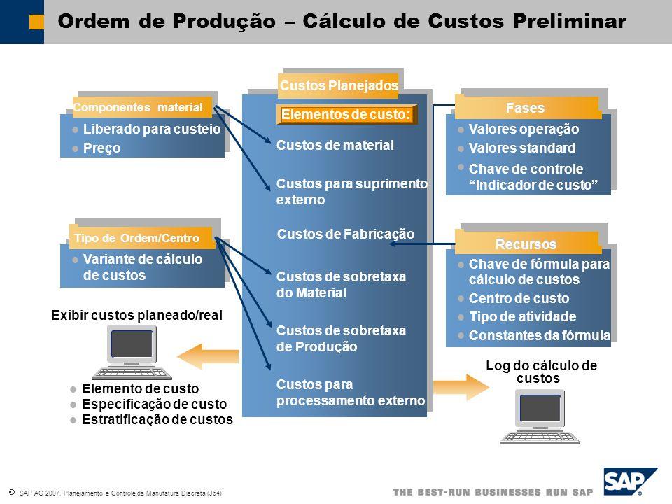 SAP AG 2007, Planejamento e Controle da Manufatura Discreta (J64) Variante de cálculo de custos Exibir custos planeado/real Elemento de custo Especifi
