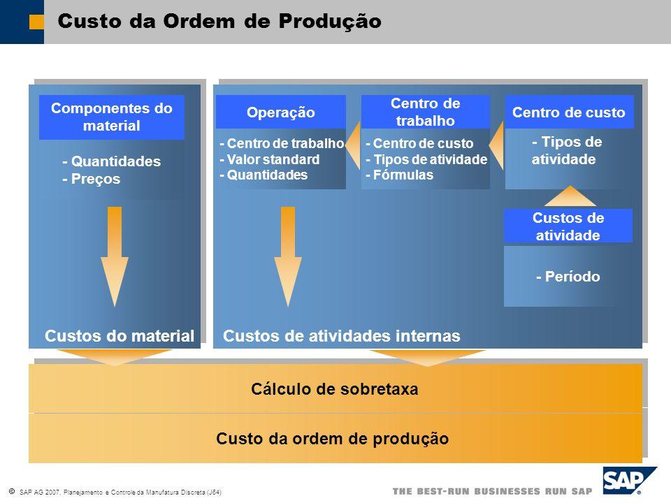 SAP AG 2007, Planejamento e Controle da Manufatura Discreta (J64) Custo da ordem de produção Cálculo de sobretaxa - Centro de trabalho - Valor standar