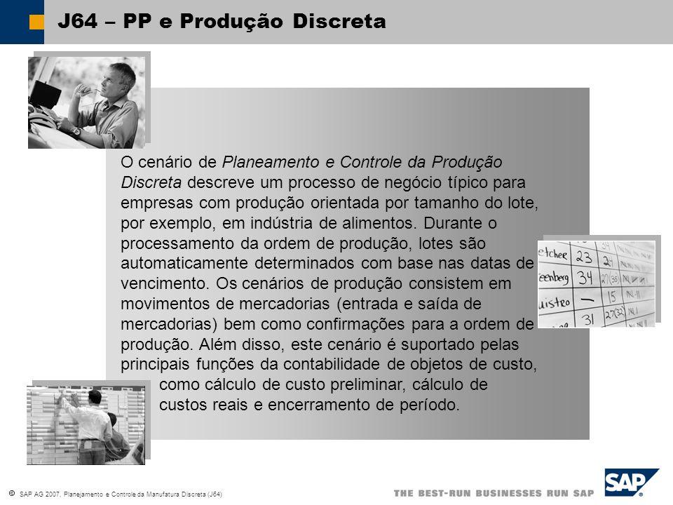 SAP AG 2007, Planejamento e Controle da Manufatura Discreta (J64) Especificar tipo de ordem Definir item da ordem Copiar roteiro Programação da produção Copiar lista de material Mudanças opcionais Gravar ordem de produção Sexta Julho 23 1999 Terça Dezembro 14 1999 Plan.