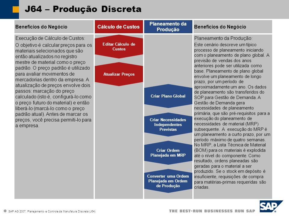 SAP AG 2007, Planejamento e Controle da Manufatura Discreta (J64) J64 – Produção Discreta Benefícios do NegócioCálculo de Custos Planeamento da Produção Benefícios do Negócio Registrar Saída de Mercadorias para componentes da BOM Registrar Entrada de Mercadorias para Mercadorias Fabricadas Criar Confirmação da Ordem Comparar Custos Planeados e Reais Liberar Ordem de Produção (Determinação de Lote) Controle de Produção: Quando uma ordem planeada é convertida em uma ordem de produção, o produto, a quantidade da ordem e a data-base da ordem são copiados da ordem planeada.