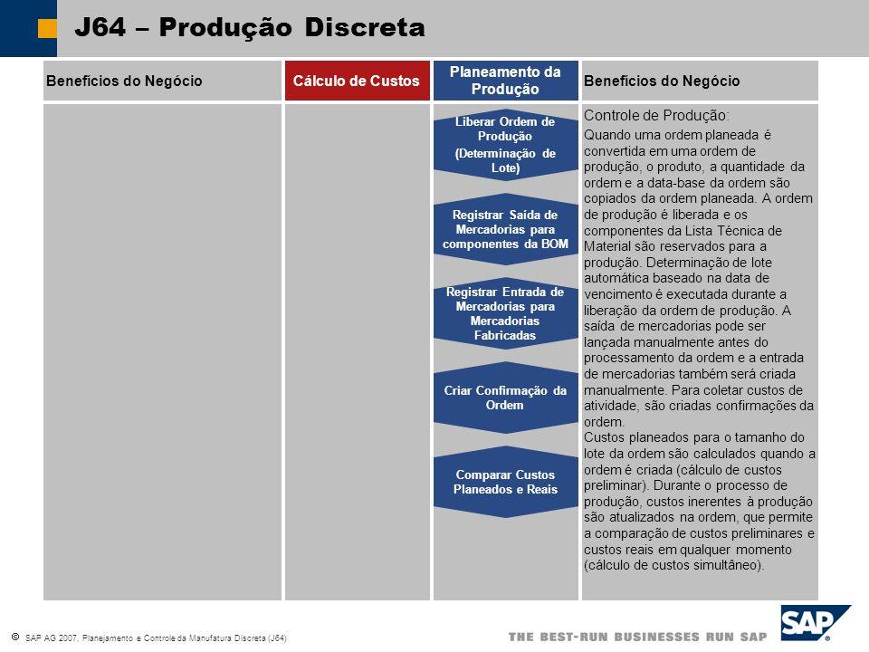 SAP AG 2007, Planejamento e Controle da Manufatura Discreta (J64) J64 – Produção Discreta Benefícios do NegócioCálculo de Custos Planeamento da Produção Cálculo do Material em Processo Cálculo de Desvios Reavaliação dos Preços Reais Cálculo de Sobretaxa Contabilidade de Objetos de Custo: A contabilidade de objetos de custo em produção discreta é uma área da contabilidade de custo que atribui os custos incorridos na produção das atividades da empresa (como materiais fabricados internamente) à essas atividades.