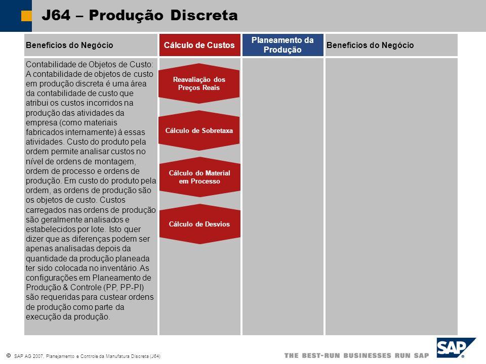 SAP AG 2007, Planejamento e Controle da Manufatura Discreta (J64) SOP Process Flow SOP – Fluxo do Processo Criar Plano de Vendas Criar Plano de Produção Transferir Valores do Planeamento para a Gestão da Demanda