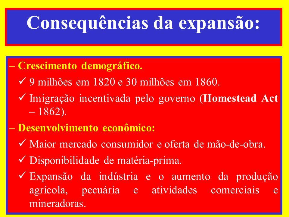 Consequências da expansão: –Crescimento demográfico. 9 milhões em 1820 e 30 milhões em 1860. Imigração incentivada pelo governo (Homestead Act – 1862)