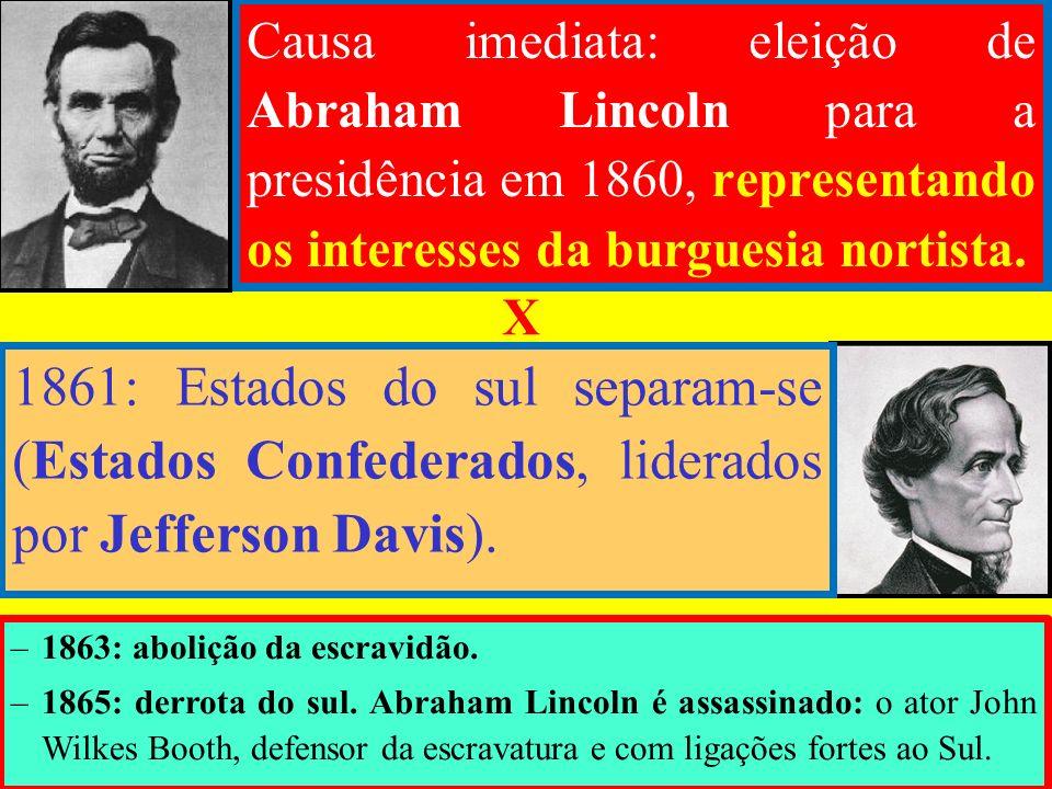 Causa imediata: eleição de Abraham Lincoln para a presidência em 1860, representando os interesses da burguesia nortista. 1861: Estados do sul separam