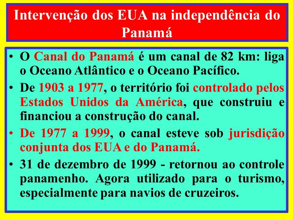 O Canal do Panamá é um canal de 82 km: liga o Oceano Atlântico e o Oceano Pacífico. De 1903 a 1977, o território foi controlado pelos Estados Unidos d