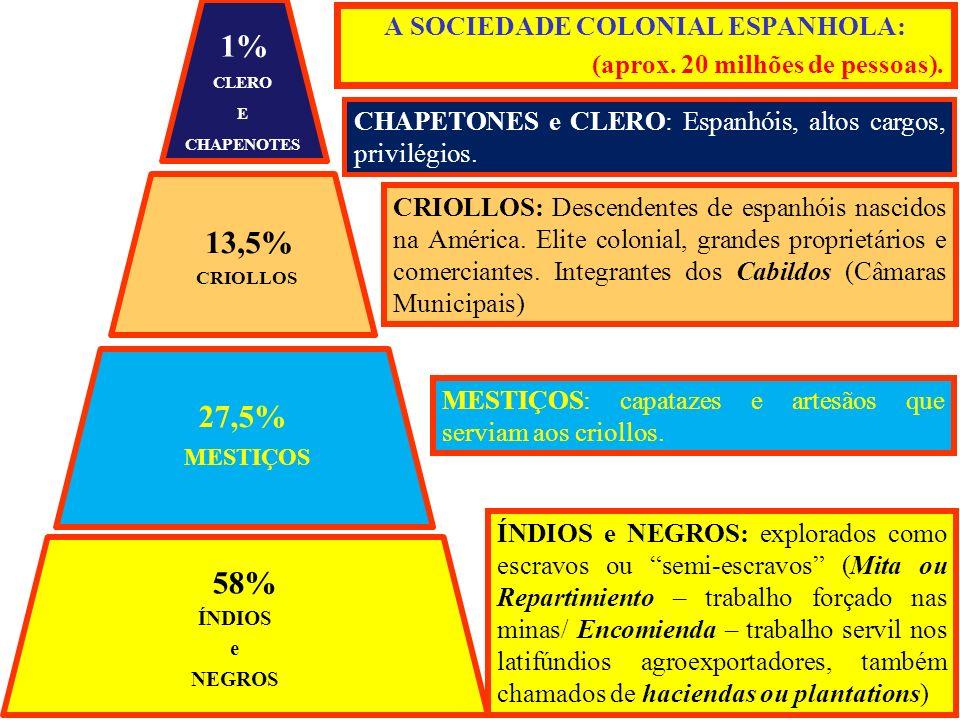 A SOCIEDADE COLONIAL ESPANHOLA: (aprox. 20 milhões de pessoas). CHAPETONES e CLERO: Espanhóis, altos cargos, privilégios. CRIOLLOS: Descendentes de es