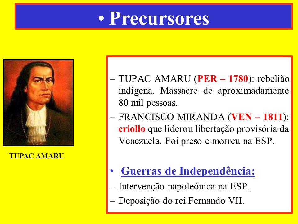 –TUPAC AMARU (PER – 1780): rebelião indígena. Massacre de aproximadamente 80 mil pessoas. –FRANCISCO MIRANDA (VEN – 1811): criollo que liderou liberta
