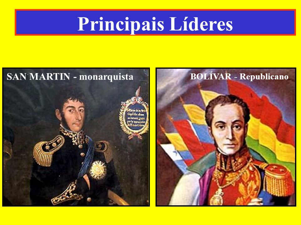 BOLÍVAR - Republicano SAN MARTIN - monarquista Principais Líderes