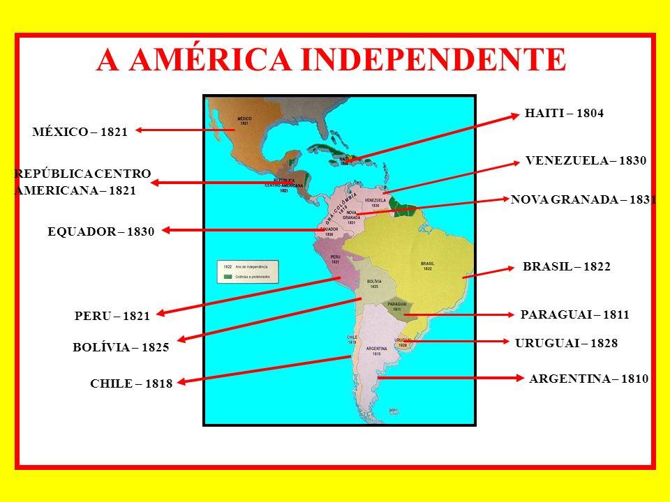 A AMÉRICA INDEPENDENTE : MÉXICO – 1821 REPÚBLICA CENTRO AMERICANA – 1821 EQUADOR – 1830 PERU – 1821 VENEZUELA – 1830 HAITI – 1804 NOVA GRANADA – 1831