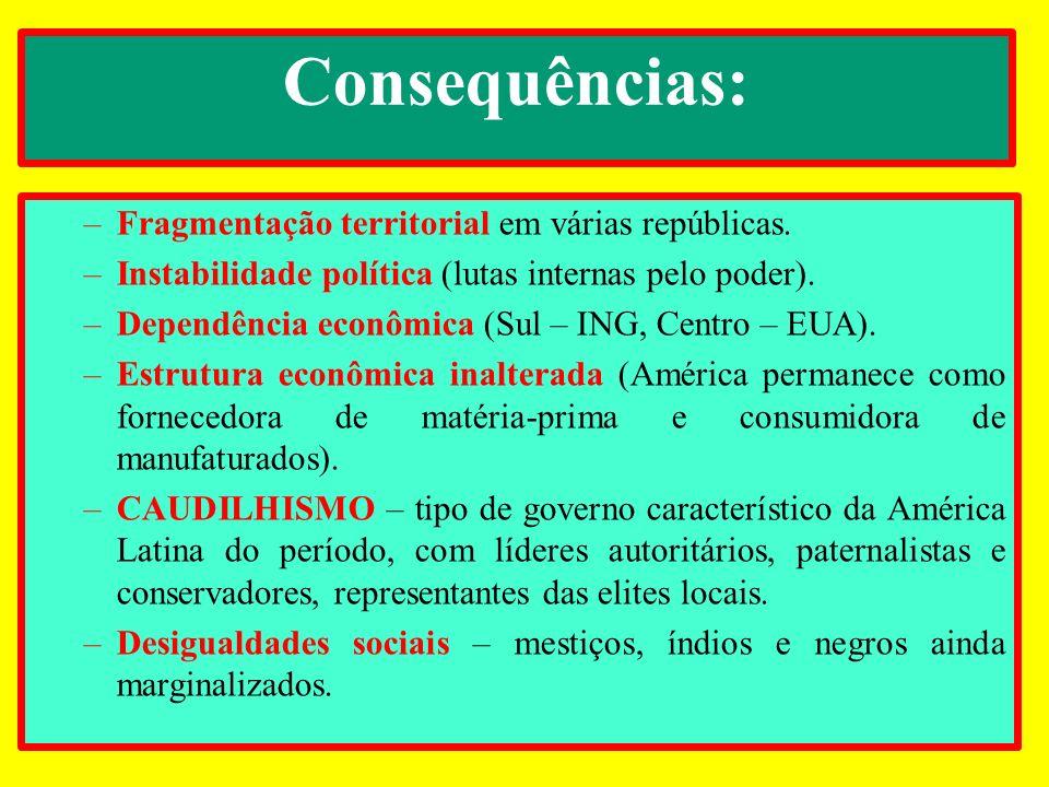 Consequências: –Fragmentação territorial em várias repúblicas. –Instabilidade política (lutas internas pelo poder). –Dependência econômica (Sul – ING,