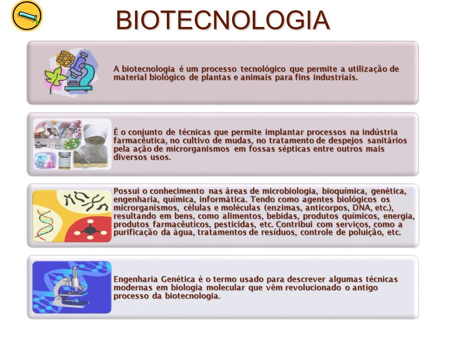 BIOTECNOLOGIA A biotecnologia é um processo tecnológico que permite a utilização de material biológico de plantas e animais para fins industriais. É o
