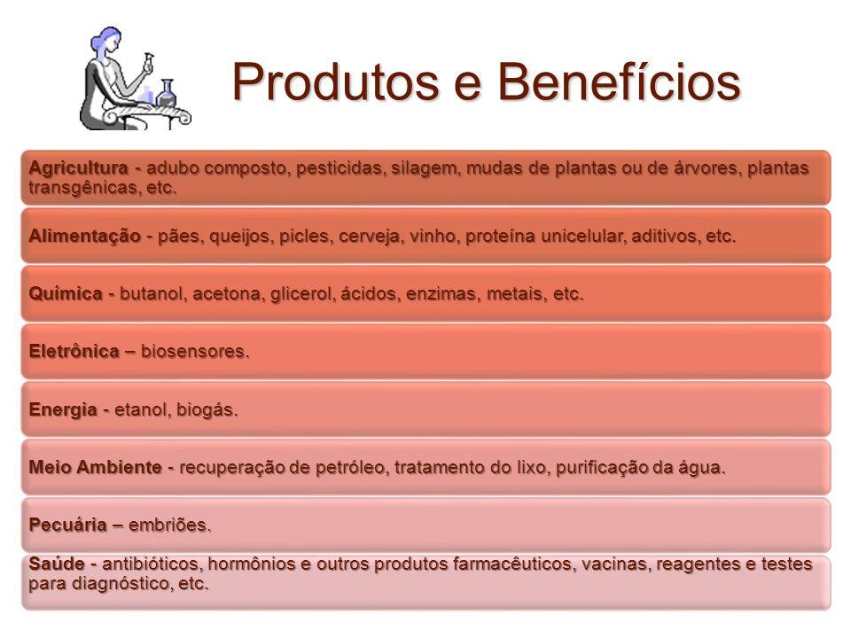 Produtos e Benefícios Agricultura - adubo composto, pesticidas, silagem, mudas de plantas ou de árvores, plantas transgênicas, etc. Alimentação - pães