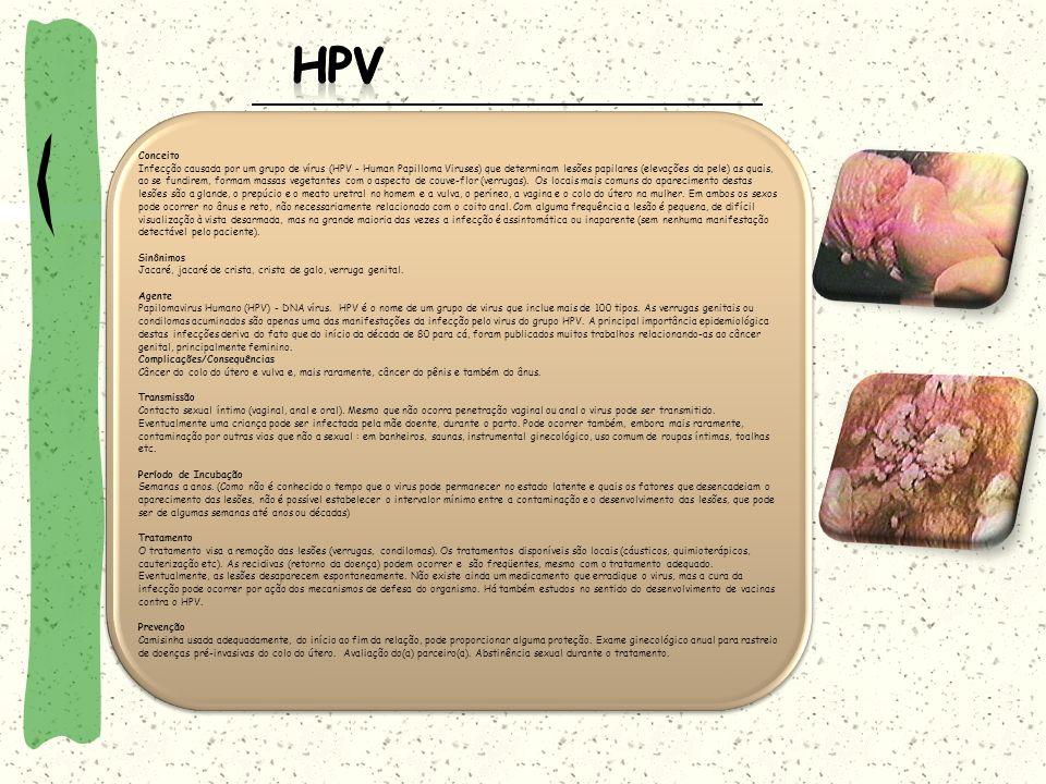 Conceito Infecção causada por um grupo de vírus (HPV - Human Papilloma Viruses) que determinam lesões papilares (elevações da pele) as quais, ao se fu