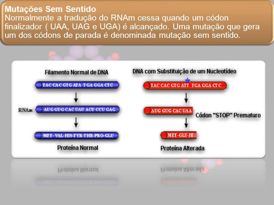 Mutações Sem Sentido Normalmente a tradução do RNAm cessa quando um códon finalizador ( UAA, UAG e UGA) é alcançado. Uma mutação que gera um dos códon