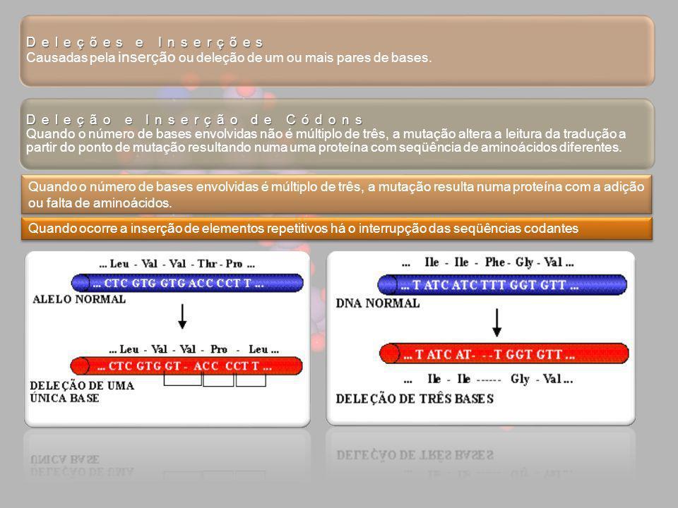 Deleções e Inserções Deleções e Inserções Causadas pela inserção ou deleção de um ou mais pares de bases. Deleção e Inserção de Códons Deleção e Inser