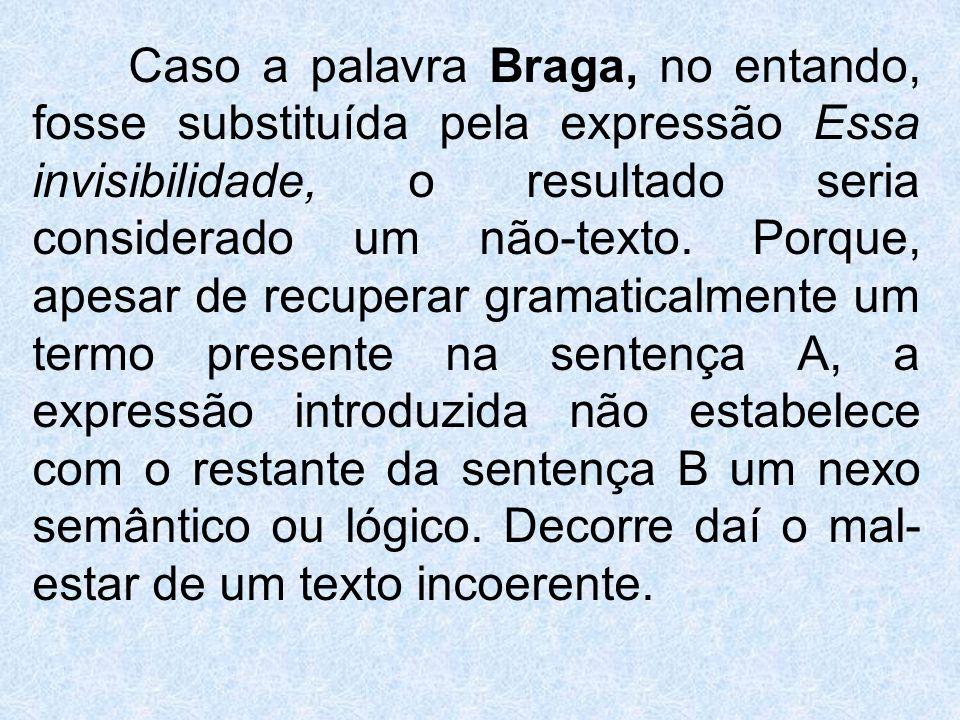 Caso a palavra Braga, no entando, fosse substituída pela expressão Essa invisibilidade, o resultado seria considerado um não-texto. Porque, apesar de