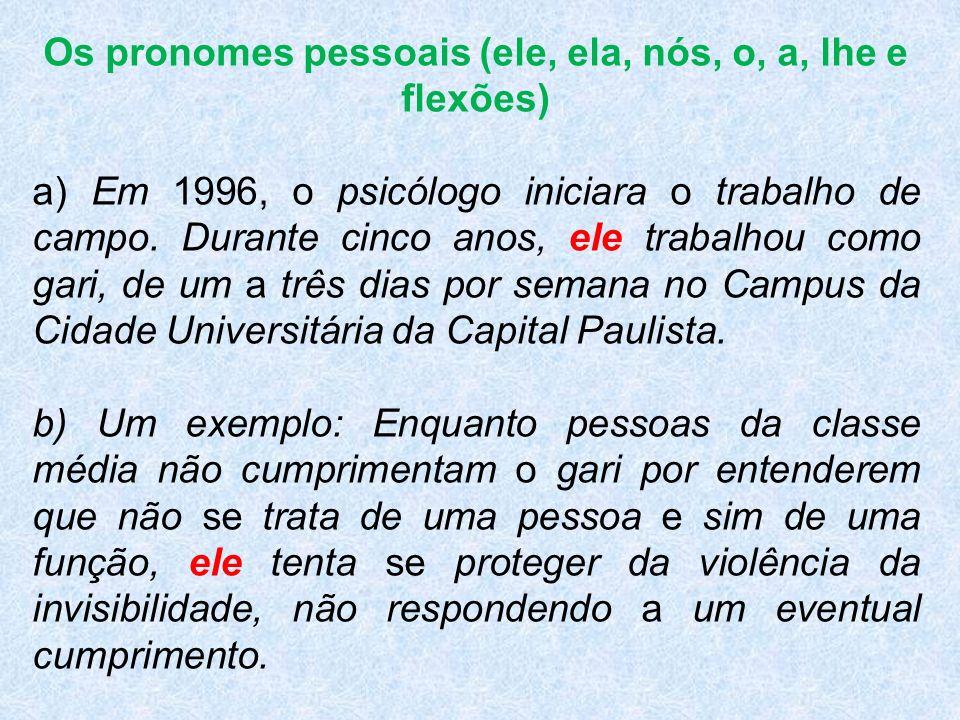 Os pronomes pessoais (ele, ela, nós, o, a, lhe e flexões) a) Em 1996, o psicólogo iniciara o trabalho de campo. Durante cinco anos, ele trabalhou como
