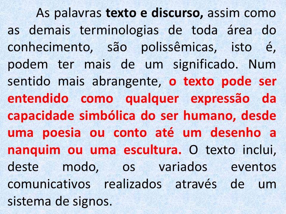 As palavras texto e discurso, assim como as demais terminologias de toda área do conhecimento, são polissêmicas, isto é, podem ter mais de um signific
