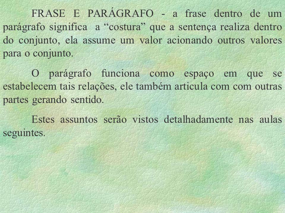 FRASE E PARÁGRAFO - a frase dentro de um parágrafo significa a costura que a sentença realiza dentro do conjunto, ela assume um valor acionando outros