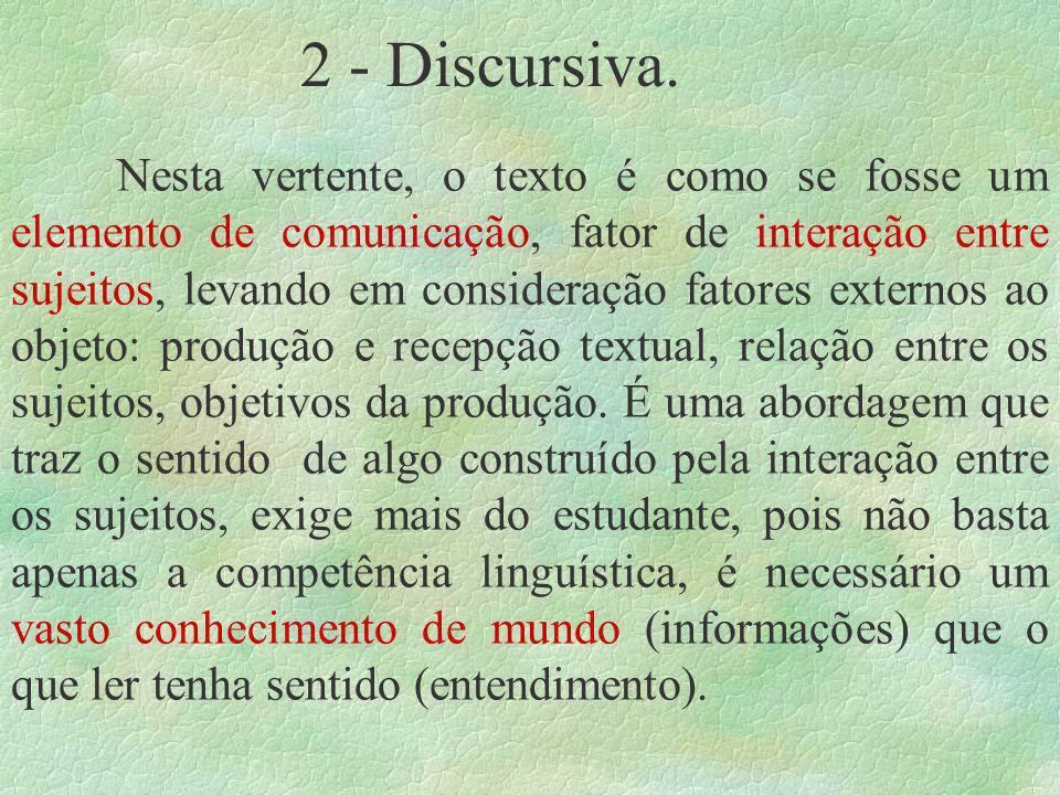 2 - Discursiva. Nesta vertente, o texto é como se fosse um elemento de comunicação, fator de interação entre sujeitos, levando em consideração fatores