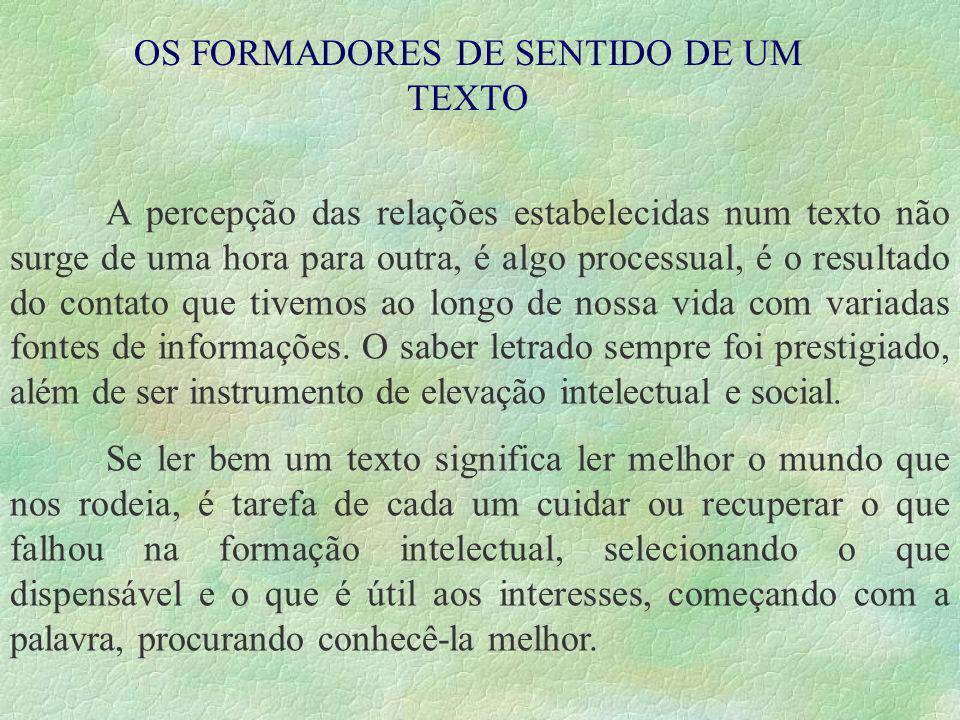 O PERCURSO DE SENTIDO DO TEXTO.