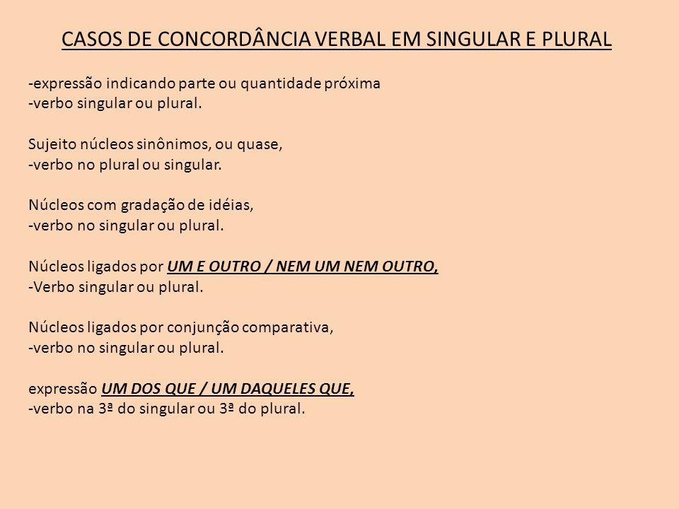 CASOS DE CONCORDÂNCIA VERBAL EM SINGULAR E PLURAL -expressão indicando parte ou quantidade próxima -verbo singular ou plural. Sujeito núcleos sinônimo