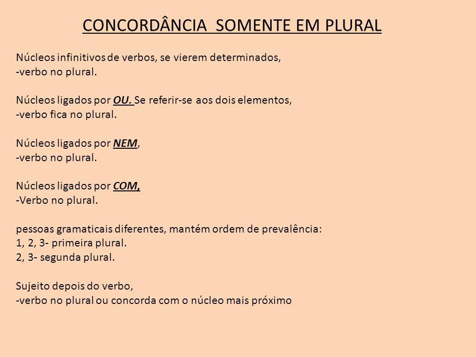 CONCORDÂNCIA SOMENTE EM SINGULAR expressão MAIS DE UM, -verbo no singular.