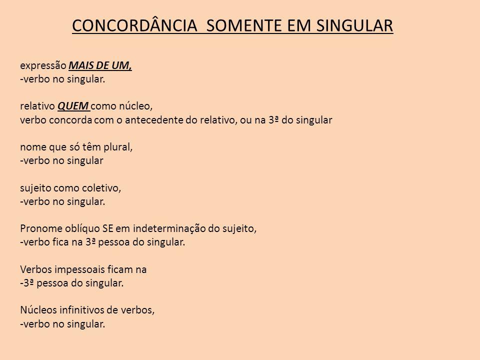 CONCORDÂNCIA SOMENTE EM SINGULAR expressão MAIS DE UM, -verbo no singular. relativo QUEM como núcleo, verbo concorda com o antecedente do relativo, ou