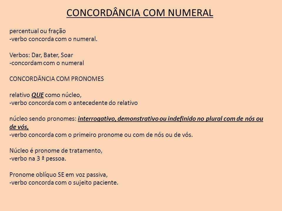 CONCORDÂNCIA COM NUMERAL percentual ou fração -verbo concorda com o numeral. Verbos: Dar, Bater, Soar -concordam com o numeral CONCORDÂNCIA COM PRONOM
