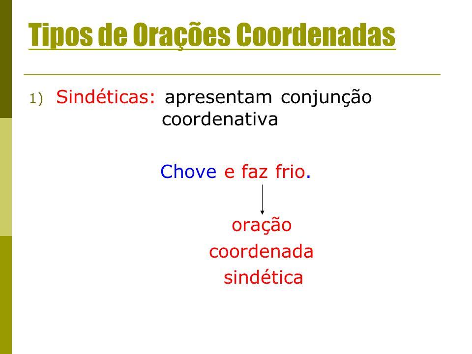 Tipos de Orações Coordenadas 1) Sindéticas: apresentam conjunção coordenativa Chove e faz frio. oração coordenada sindética