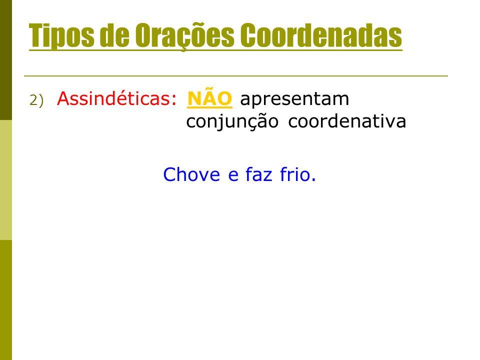 Tipos de Orações Coordenadas 2) Assindéticas: NÃO apresentam conjunção coordenativa Chove e faz frio.