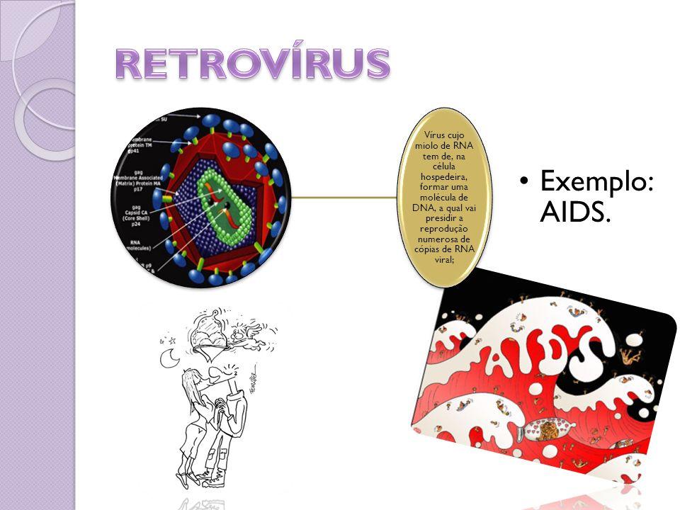 Vírus cujo miolo de RNA tem de, na célula hospedeira, formar uma molécula de DNA, a qual vai presidir a reprodução numerosa de cópias de RNA viral; Ex