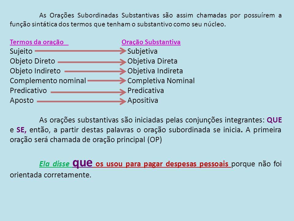 As Orações Subordinadas Substantivas são assim chamadas por possuírem a função sintática dos termos que tenham o substantivo como seu núcleo. Termos d